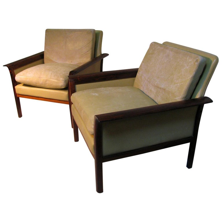 Mid-Century Modern Leather and Rosewood Lounge Chairs Knut Saeter Vatne Mobler For Sale