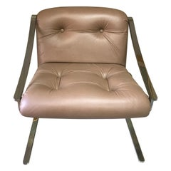 Mid-Century Modern Leather and Stainless Steel Armchair by Charles Gibilterra