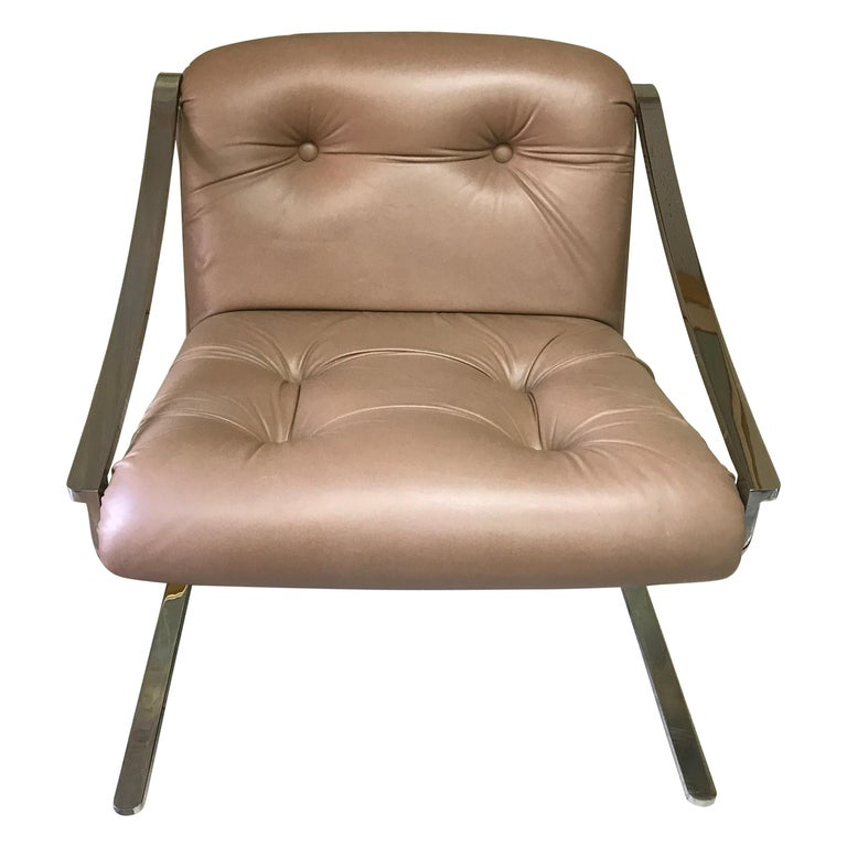 Mid-Century Modern Leather and Stainless Steel Armchair by Charles Gibilterra For Sale