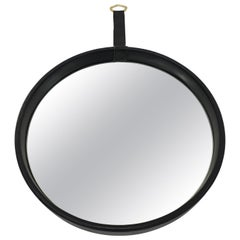 Mid-Century Modern Leather Bound Wall Mirror, France, 1950s