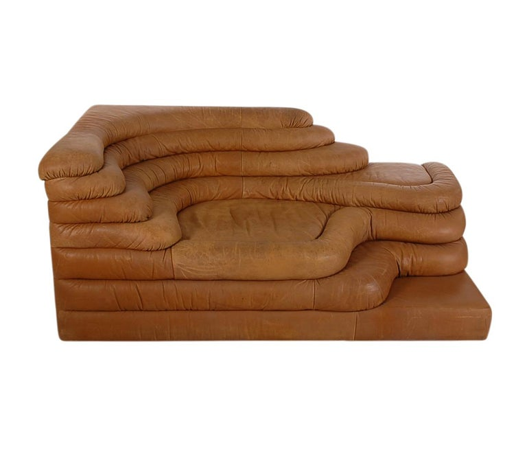 Mid-Century Modern Leather Chaise/Terazza Sofa by Ubald Klug for De Sede  In Good Condition For Sale In Philadelphia, PA