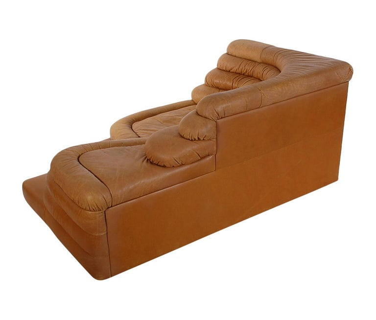 Mid-20th Century Mid-Century Modern Leather Chaise/Terazza Sofa by Ubald Klug for De Sede  For Sale