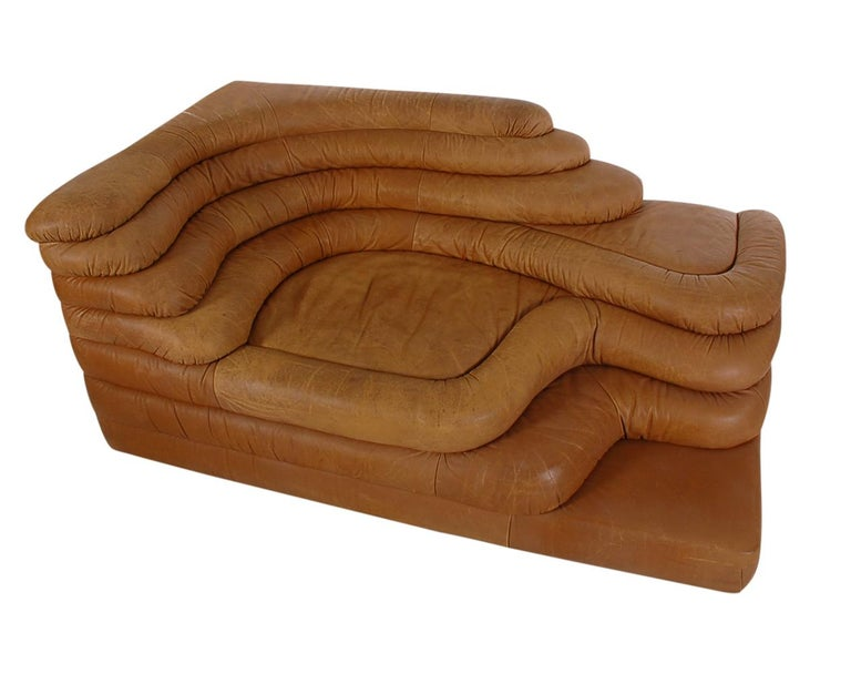 Mid-Century Modern Leather Chaise/Terazza Sofa by Ubald Klug for De Sede  For Sale 2