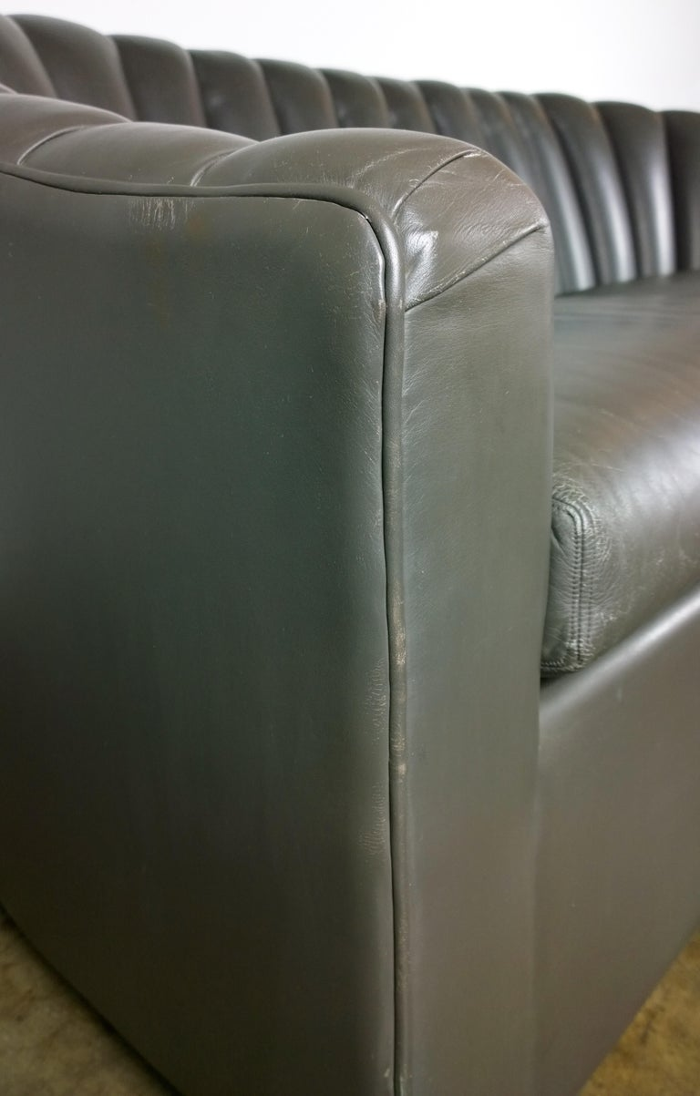Weathered Gray Brown Leather Channel Back Two Cushion Loveseat or Sofa For Sale 3