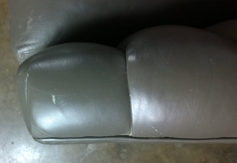 Weathered Gray Brown Leather Channel Back Two Cushion Loveseat or Sofa For Sale 7