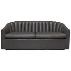 Gray Brown Leather Channel Back Two Cushion-Seat Love Seat / Sofa