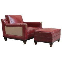 Mid-Century Modern Leather Club Chair with Matching Ottoman