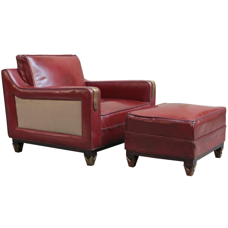 Mid Century Modern Leather Club Chair With Matching Ottoman For Sale