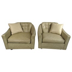 Mid-Century Modern Leather Club Chairs by Selig, a Pair