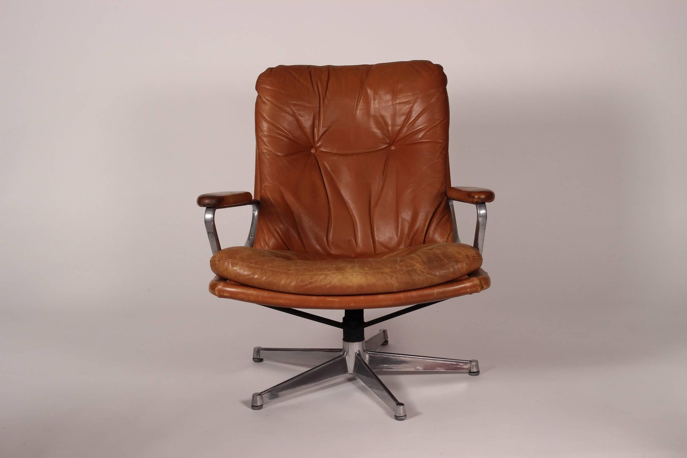 Made in Switzerland to very high standards this comfortable and robust Genilina armchair stands on & Mid-Century Modern Leather Lounge Chair Designed by André ...