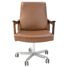 Mid-Century Modern Leather Office Chair, Danish Design, circa 1970s