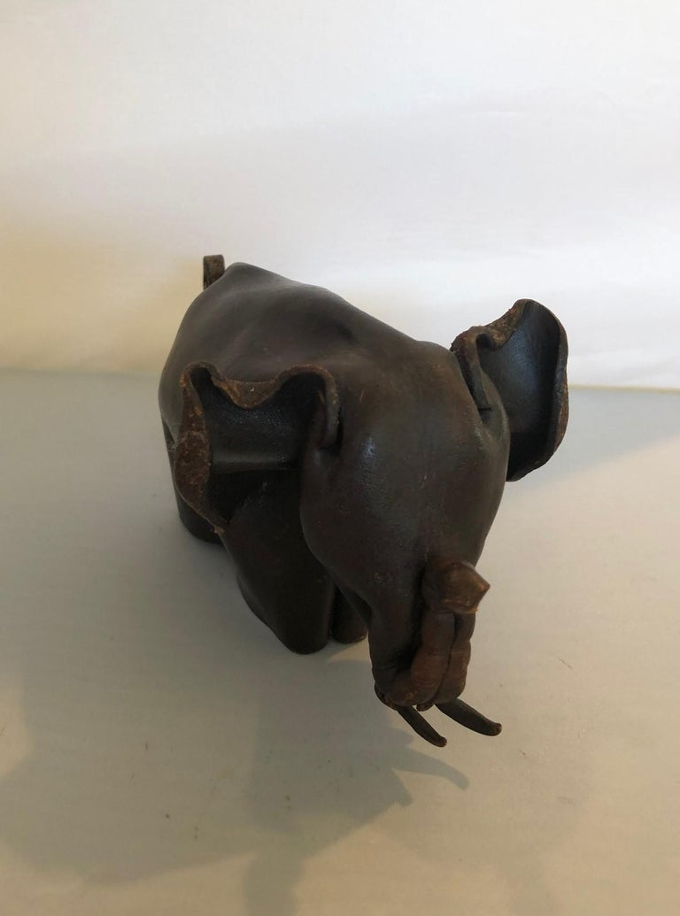 English Mid-Century Modern Leather Origami Elephant Sculpture For Sale