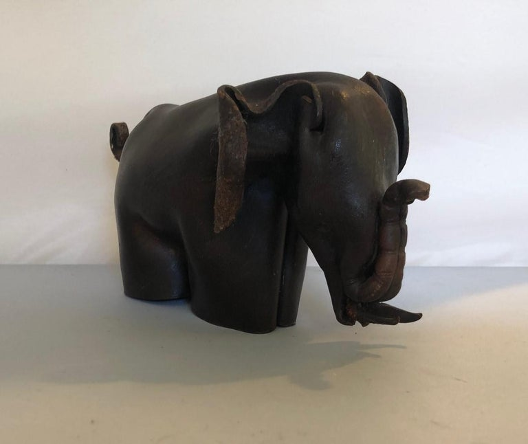 20th Century Mid-Century Modern Leather Origami Elephant Sculpture For Sale