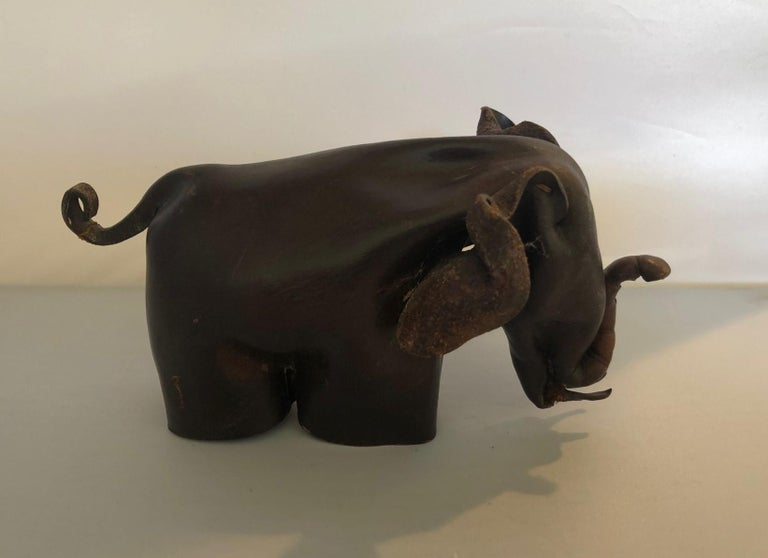 Mid-Century Modern Leather Origami Elephant Sculpture For Sale 1