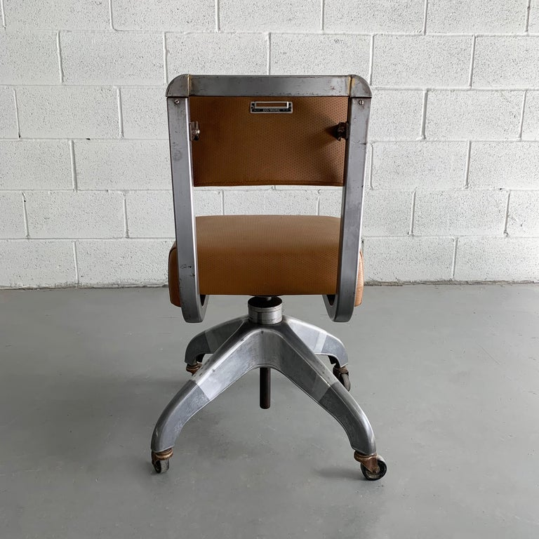 Mid-Century Modern Leather Rolling Office Desk Chair by DoMore