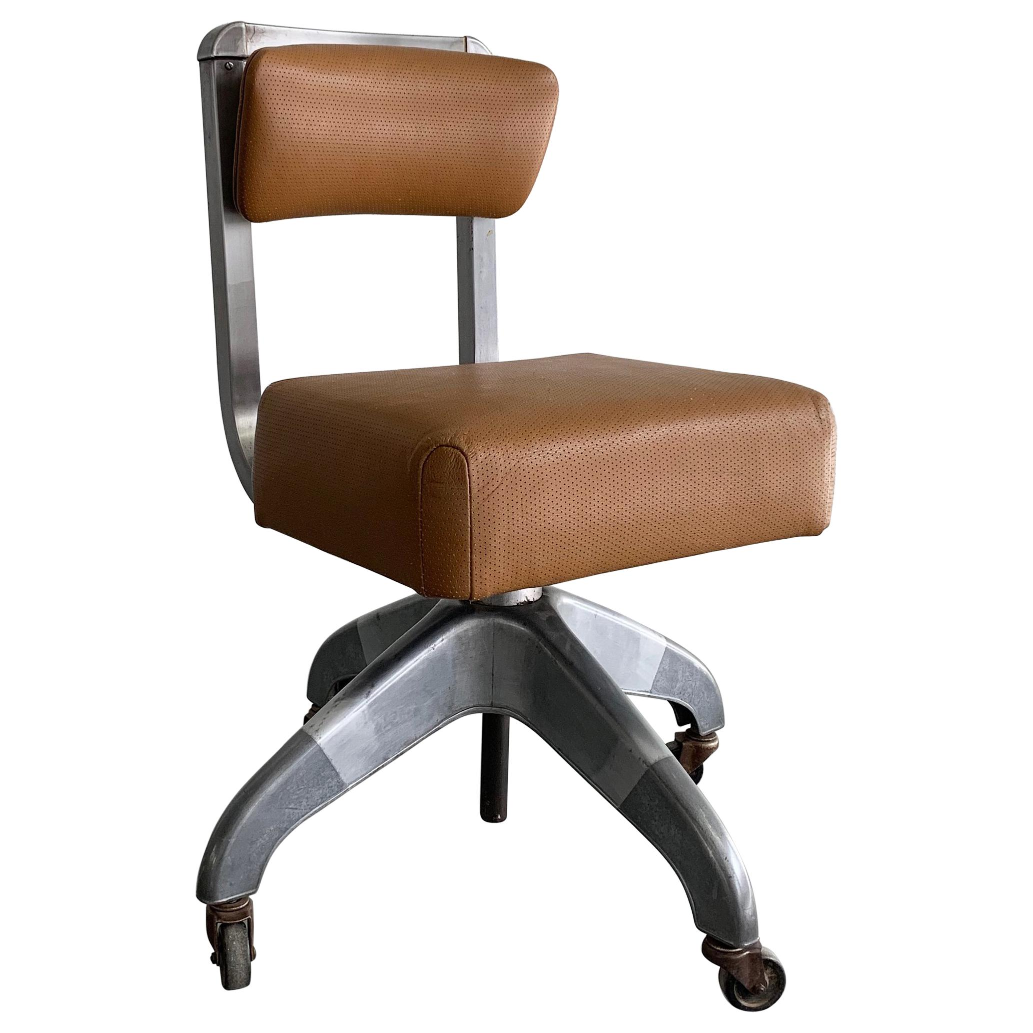 Mid Century Modern Leather Rolling Office Desk Chair By DoMore