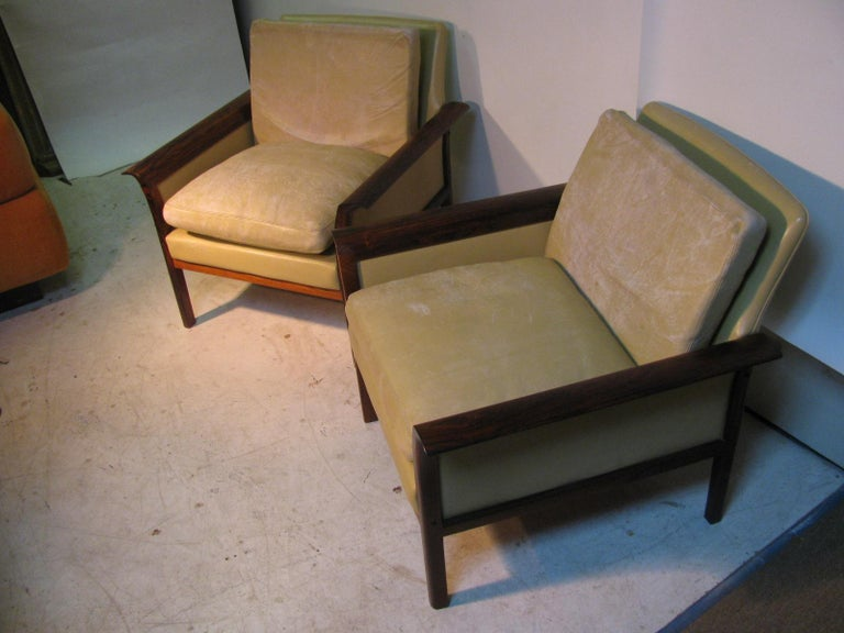 Mid-Century Modern Leather and Rosewood Lounge Chairs Knut Saeter Vatne Mobler In Good Condition For Sale In Port Jervis, NY