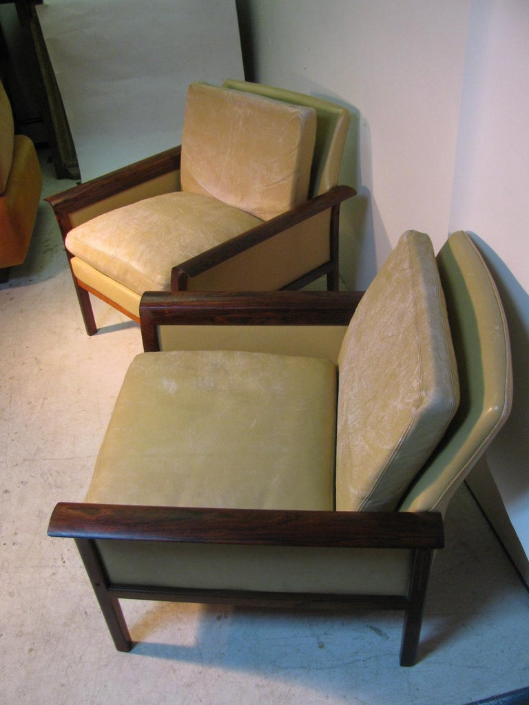 Mid-20th Century Mid-Century Modern Leather and Rosewood Lounge Chairs Knut Saeter Vatne Mobler For Sale