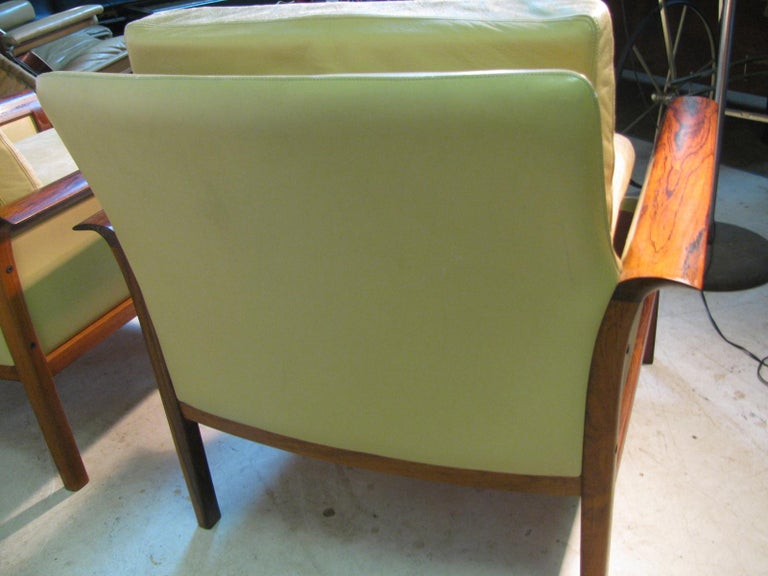 Mid-Century Modern Leather and Rosewood Lounge Chairs Knut Saeter Vatne Mobler For Sale 2