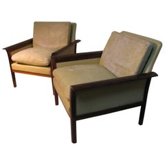 Mid-Century Modern Leather & Rosewood Lounge Chairs Knut Saeter for Vatne Mobler