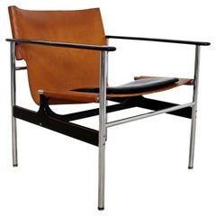 Mid-Century Modern Leather Sling Lounge Chairs Charles Pollock for Knoll 1960s