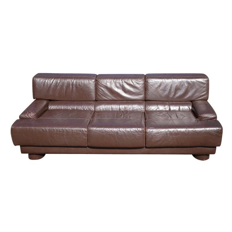 Mid-Century Modern Leather Sofa by Brazilian Designer Percival Lafer