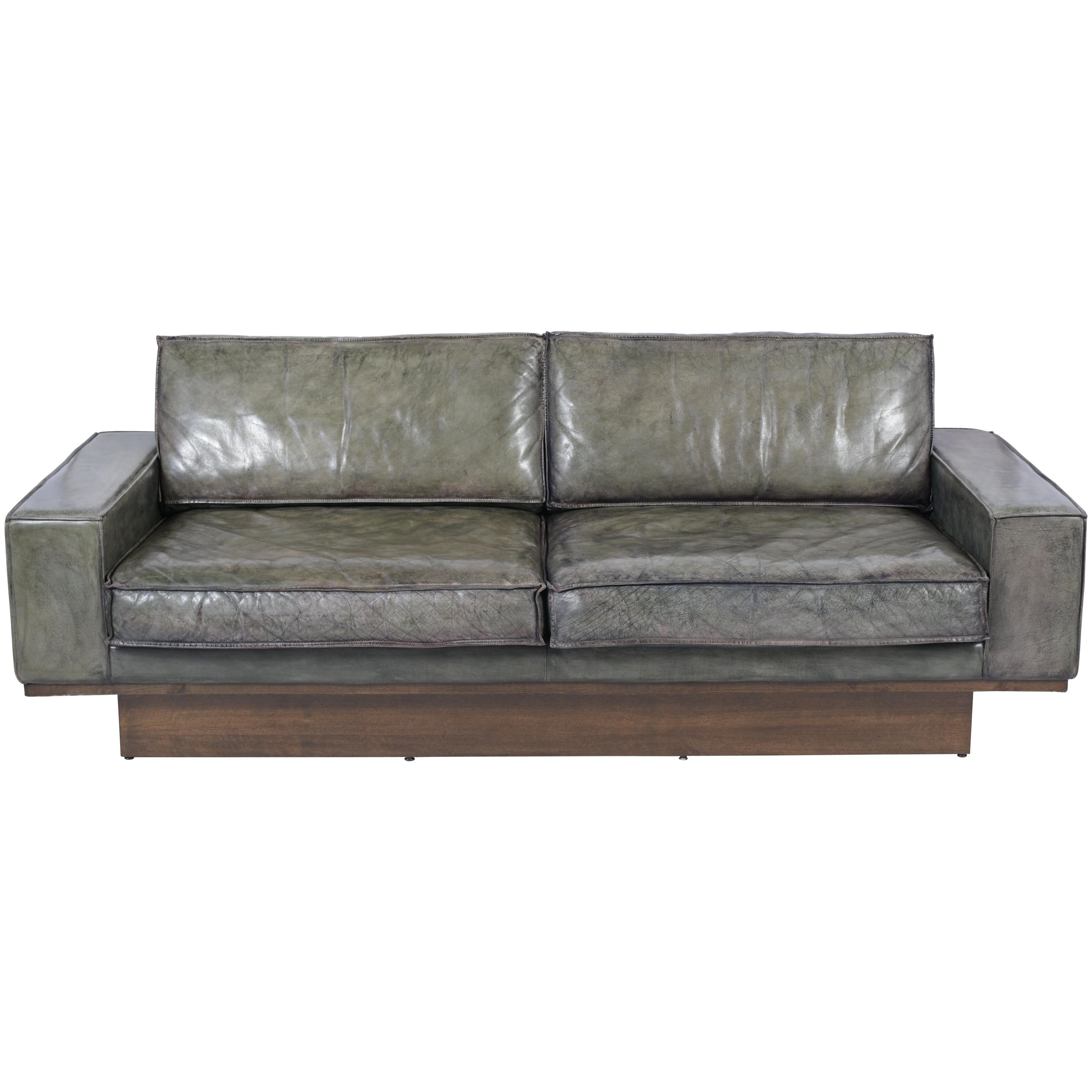 Midcentury Modern Two Seat Leather Sofa