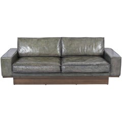 Mid-Century Modern Two Seat Leather Sofa