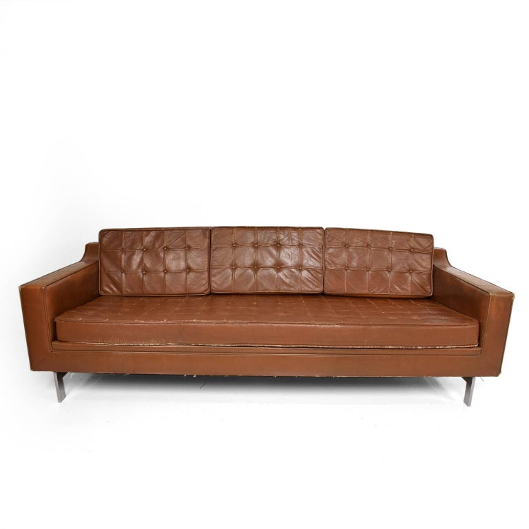Mid Century Modern Leather Sofa In The Style Of Knoll