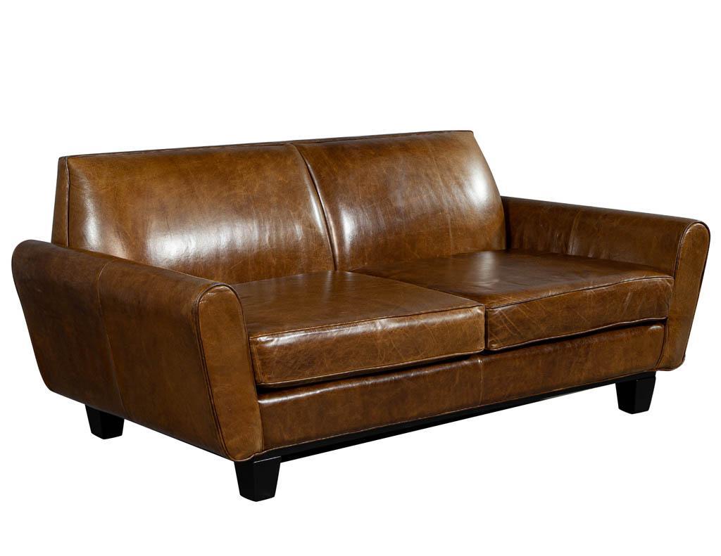 Mid Century Modern Leather Sofa Loveseat