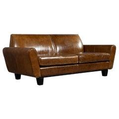 Mid-Century Modern Leather Sofa Loveseat
