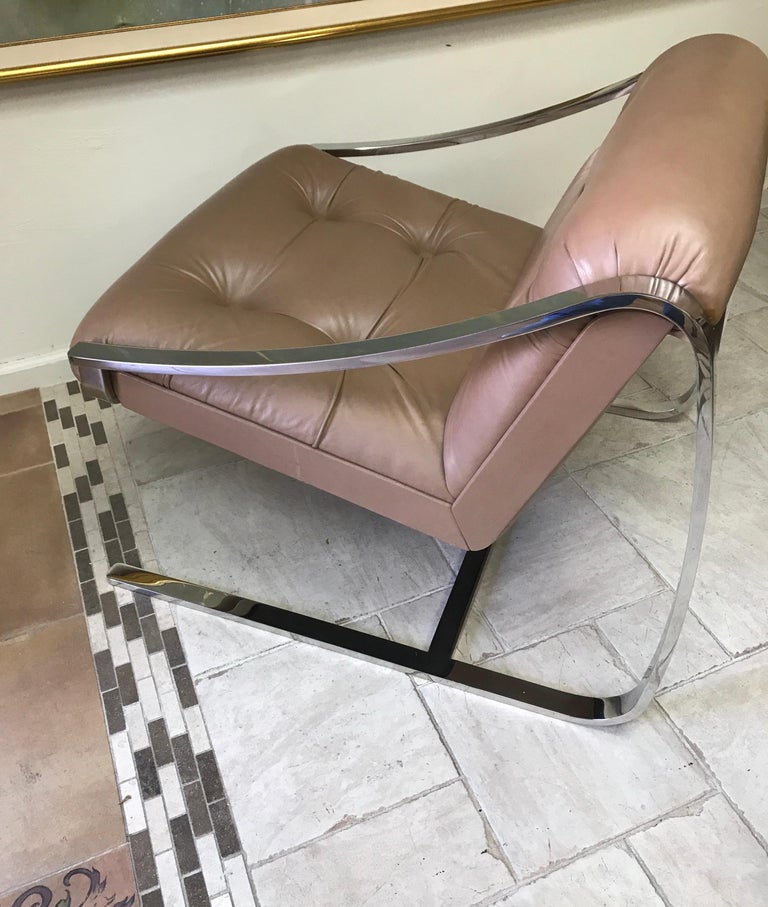 Mid-Century Modern Leather and Stainless Steel Armchair by Charles Gibilterra For Sale 3