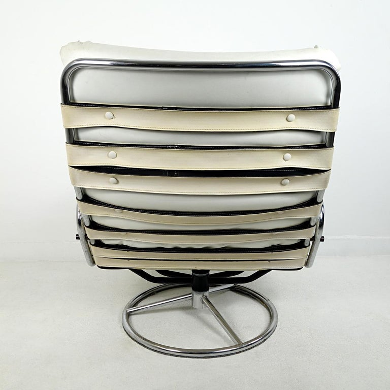 Mid-Century Modern Leather Swivel Chair Tanabe by Martin Visser for 't Spectrum In Good Condition For Sale In Doornspijk, NL