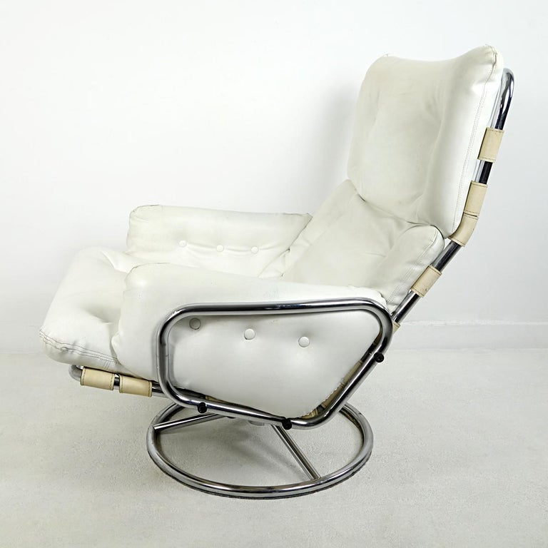 Steel Mid-Century Modern Leather Swivel Chair Tanabe by Martin Visser for 't Spectrum For Sale