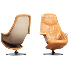 Mid-Century Modern Leather Swivel Lounge Chairs, One Pair