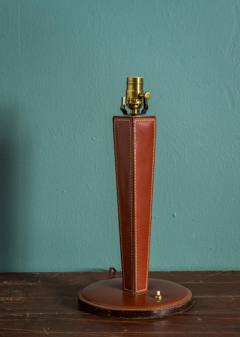 Hand-Crafted Mid-Century Modern Leather Table Lamp For Sale