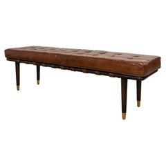 Mid-Century Modern Leather Top Bench