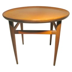 Mid-Century Modern Leather Top Round Cocktail Table Henredon Heritage