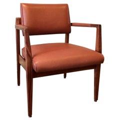 Mid-Century Modern Leather Walnut Armchair Attrib Jens Risom