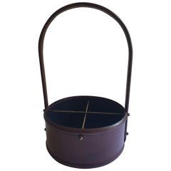 Mid-Century Modern Leather Wine Carrier