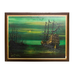 Lee Reynolds Burr, Ships At Sea Mystic Galleons Painting, California Art LA 1960