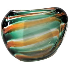 Mid-Century Modern Leerdam Unica Striped Art Glass Vase by Floris Meydam