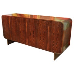 Mid-Century Modern Leon Rosen for Pace Curved Rosewood Bronze Credenza, 1970s