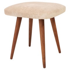 Mid-Century Modern Light Beige Stool, 1960s