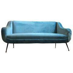 Mid-Century Modern Light Blue Velvet Italian Sofa, circa 1960