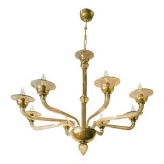 Mid-Century Modern Light Brown Murano 8-Light Chandelier, Attributed to Venini