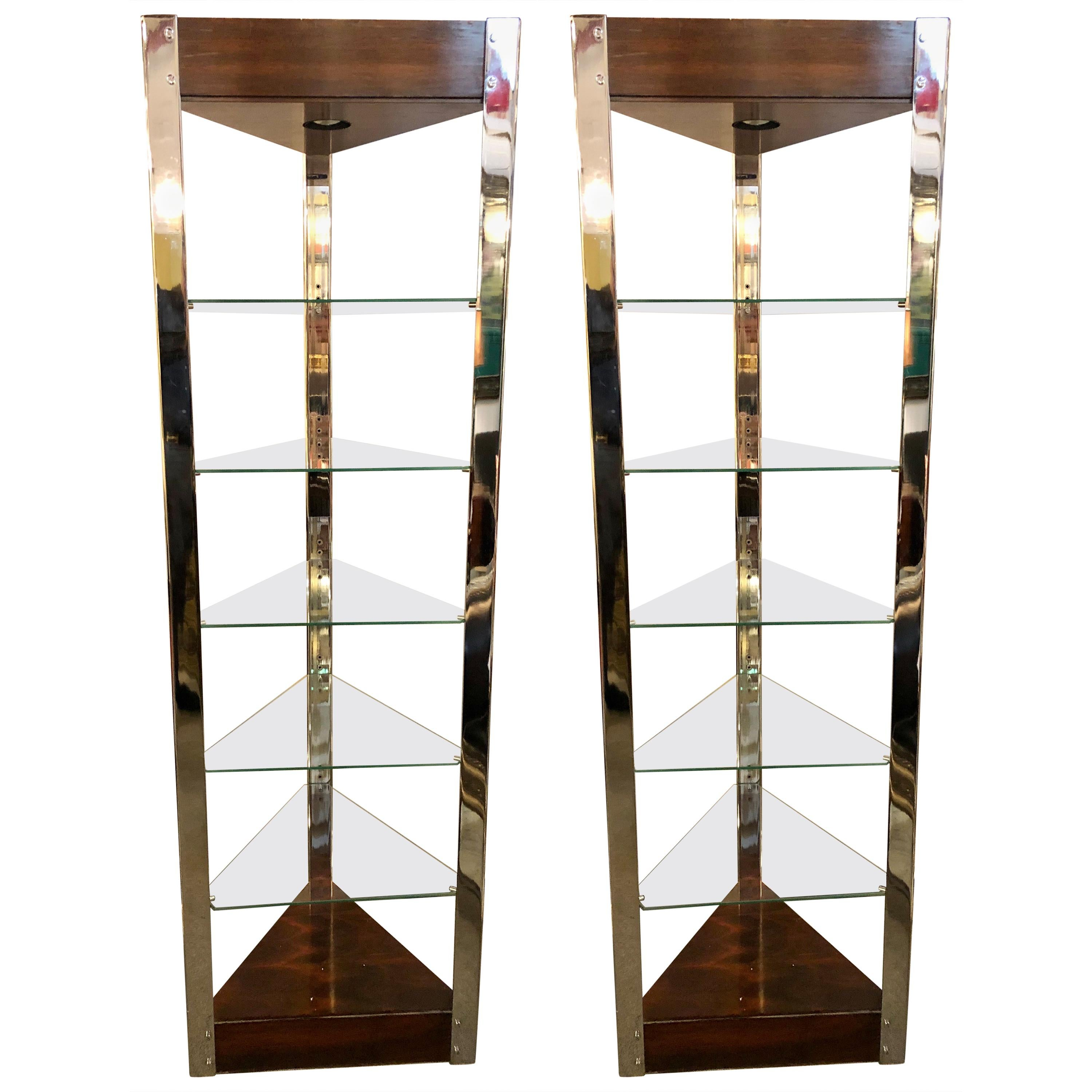Mid-Century Modern Lighted Étagères or Shelves Rosewood Chrome and Glass, a Pair
