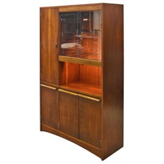 Mid-Century Modern Lighted Glass Door Walnut China Hutch Cabinet