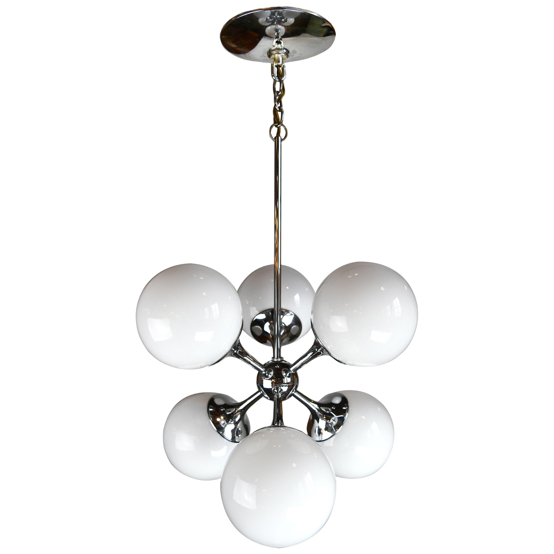 Mid-Century Modern Lightolier Sputnik 6-Light Chrome Chandelier