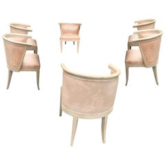 Mid-Century Modern Limed Oak and Silk Barrel Chairs Harold Schwartz for Romweber